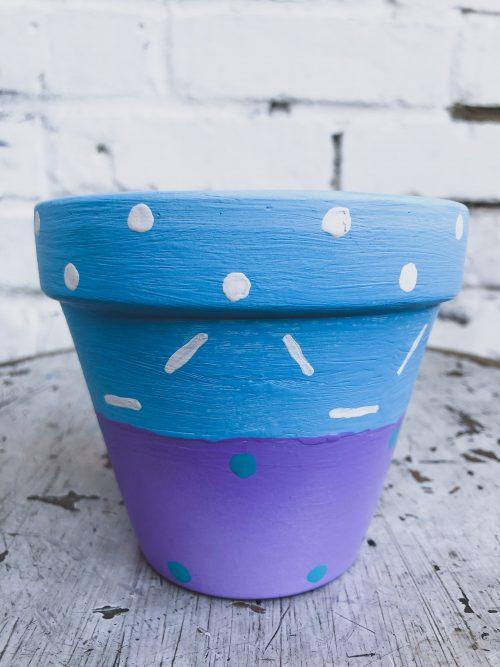 Artisanal Decorative Purple and Blue Plant Pot