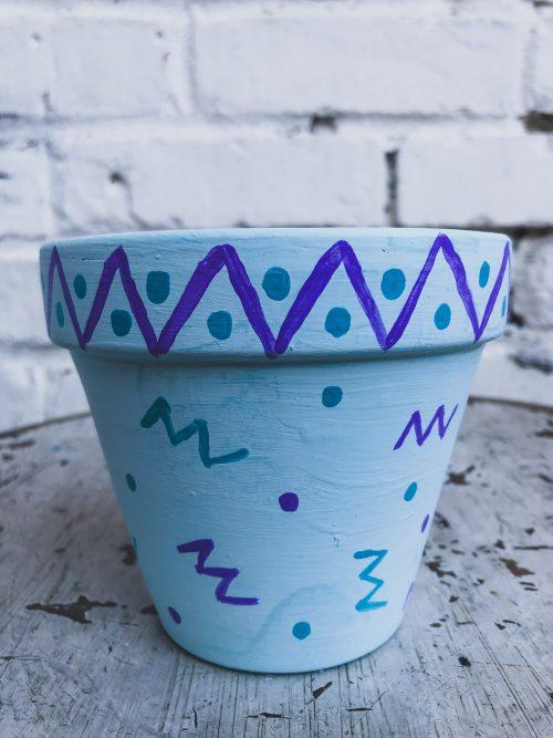Artisanal Decorative Light Blue Plant Pot