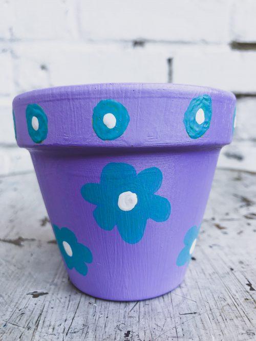 Artisanal Decorative Purple Plant Pot with Blue Flowers