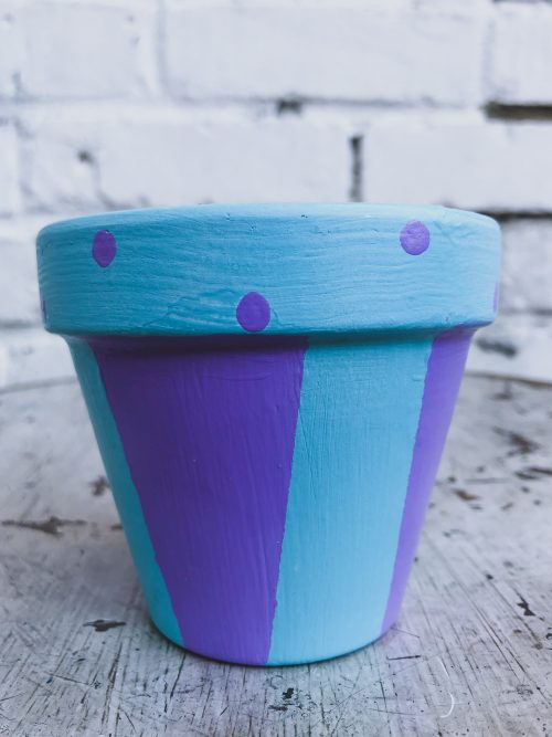 Artisanal Teal & Purple Plant Pot with Polka Dots and Stripes